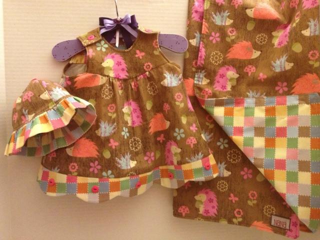 LAC Hedgehog Dress and blanket 3-2013