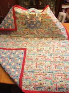 LAC Snoopy:Kitty Quilt & Bib 3-2013