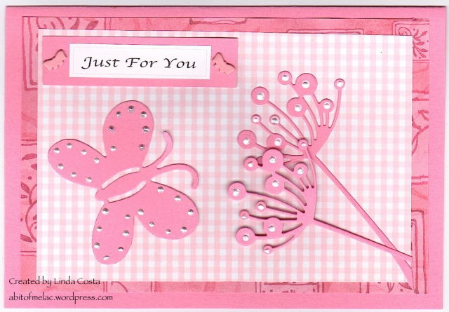 Pink check with butterfly